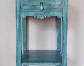 SOLD* Antique-Vintage telephone-end table-accent-side table  hand painted