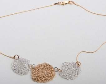goldfild necklace with pure silver and goldfild wire knitting.