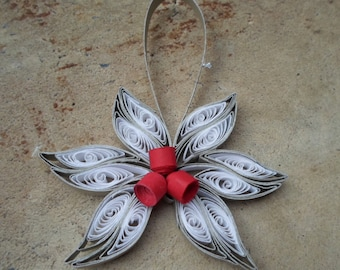 White silver red Christmas tree ornament Paper flower ornament Quilled ornament Trendy modern Christmas tree decoration