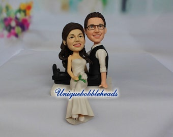 Romantic wedding cake topper ,custom wedding cake topper,personalzied cake topper,unique cake topper,sitting on edge of the cake