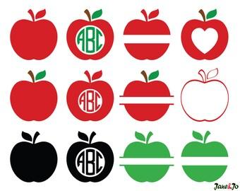 Apple Svg,Teacher Svg,Teacher Monogram Svg,School Svg,Split Apple Svg,Apple Cricut Cut File,Split Svg,Apple svg vector,Split Svg,Apple Vinyl