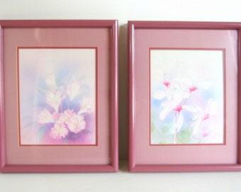 2 Vintage Framed Print - Pink Watercolor Prints in Dark Pink Picture Frames