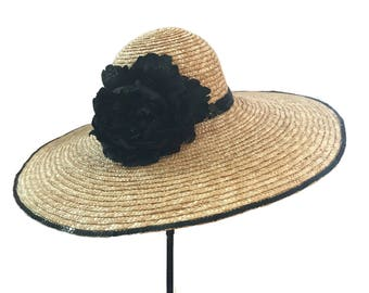 """Women's Kentucky Derby Hat, Wide Brim Straw Hat, Garden and Tea Party Hat in Natural and Black- """"Catalina Island Classic"""""""