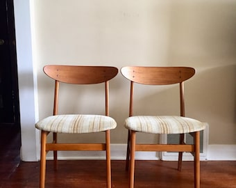 Mid Century Danish Teak Dining Chairs by Farstrup. Teak Chairs. Farstrup Denmark. Price listed is for both chairs.