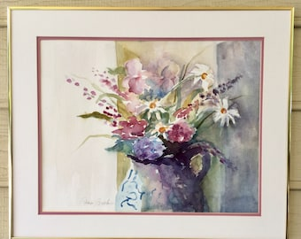 Blue and White Vase with Flowers Watercolor