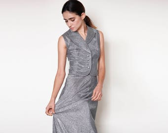 Sparkly Silver 2 Piece Vest and Maxi Skirt One of a Kind Hand Made Vintage Set Size Small