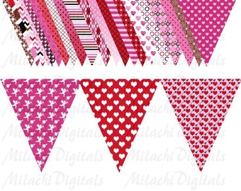 60% OFF SALE Valentine's Day Triangle Flag Banner Clip Art  Digital Clipart Commercial Use - printable clipart - Instant Download - M233