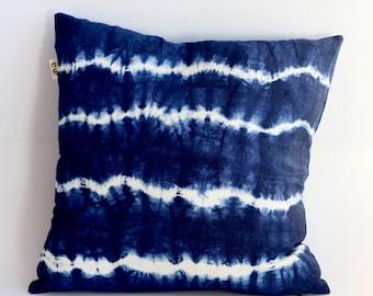Shibori Pillow, Indigo Blue Pillow Cover, Blue Linen Pillow, Shibori Linen Pillow, Pillow Covers 20X20