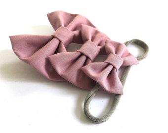 Dusty Rose Fabric Hair Bow