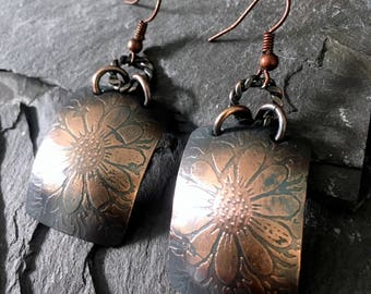 floral etched copper earrings / dangle earrings / etched earrings / etched copper earrings  / rustic earrings / flower design
