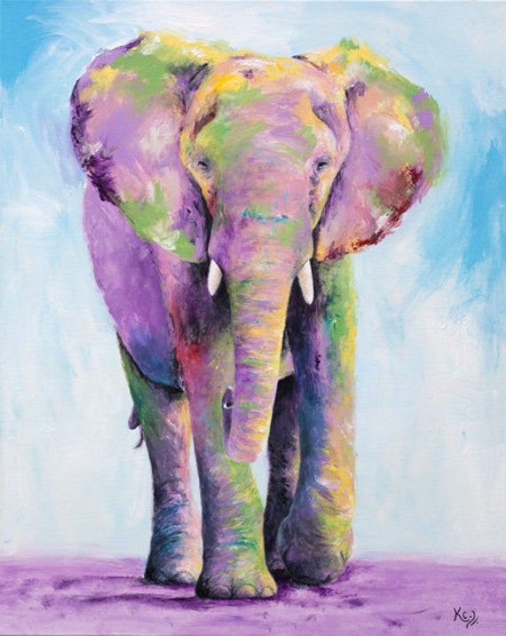 Elephant Art Print - Elephant Gift, Zoo Animals Art, Elephant Decor, Elephant Print, Zoo Art, Elephant Nursery Art, Elephant Wall Art.
