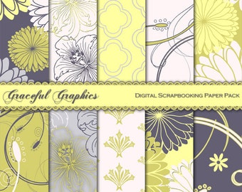 Scrapbook Paper Pack Digital Scrapbooking Background Papers 10 Sheets 8.5 x 11 DAMASK Yellow Gold Gray White 1043gg