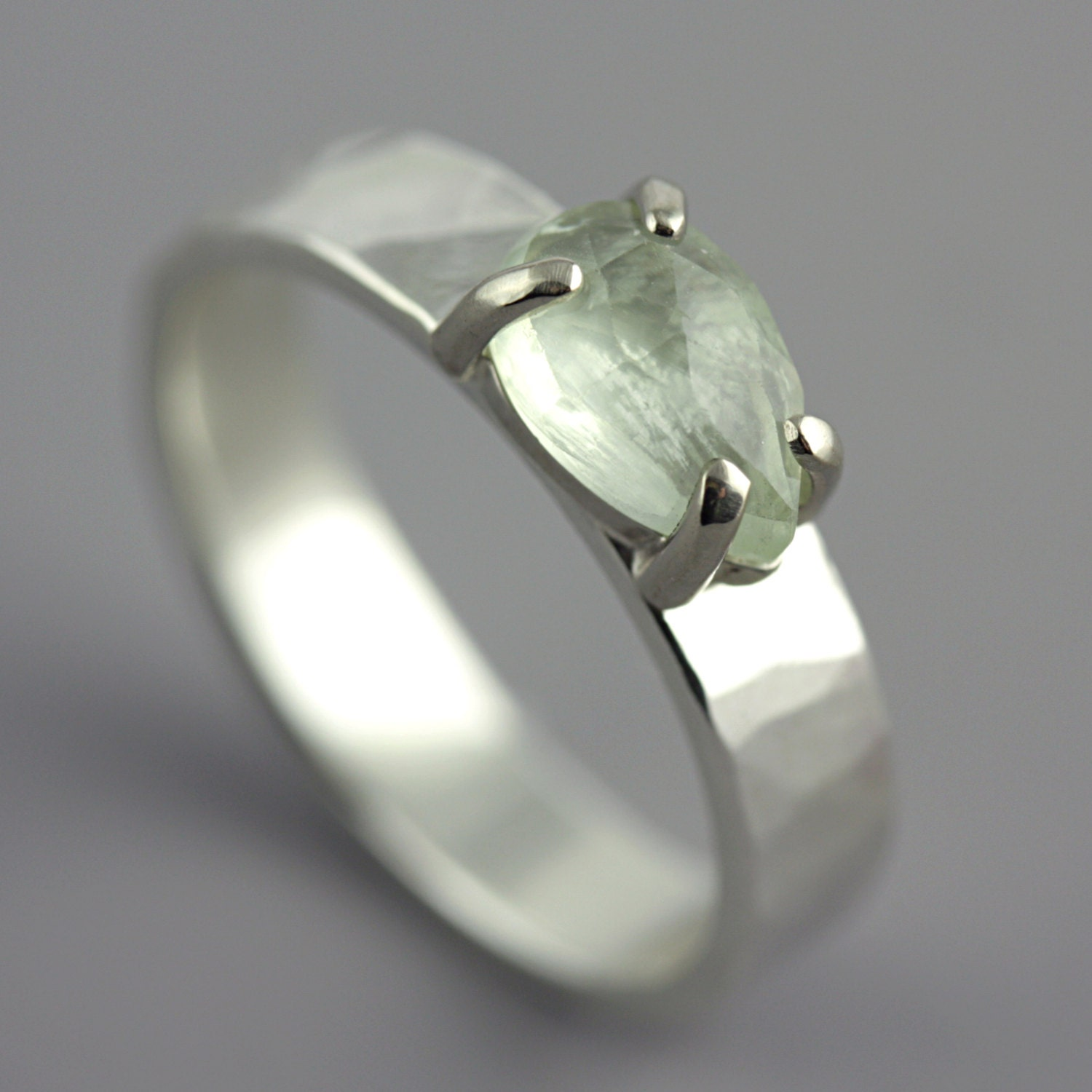 Hammered 14k White Gold Ring with Faceted Pear Shaped Prehnite
