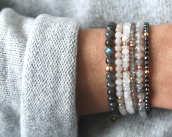 Labradorite Gemstone Stacking Bracelet