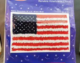 J&P Coats Latch Hook American Flag Wall Hanging KIT, 25135, 18x12 inches, 46x30 cm, FREE Latch Hook,  4th July, Patriotic, easy to make