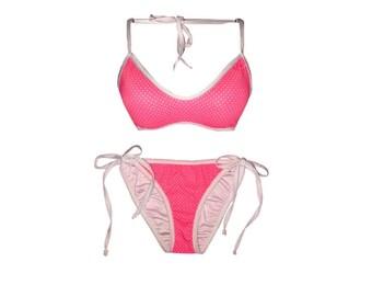 Flourescent Pink & White Polka Dot Bikini Set// Available in Cheeky// ScrunchButt// Full Coverage
