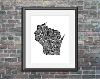 Wisconsin typography map art unframed print customizable personalized state poster custom wall decor engagement wedding housewarming gift