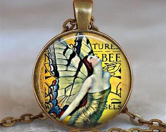 Art Nouveau Fairy pendant, fairy necklace fairy jewelry, golden bee fairy Art Nouveau jewelry fairy jewelry key chain key ring key fob