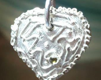 Handmade Heart Pendant Sterling Silver Peridot Stone