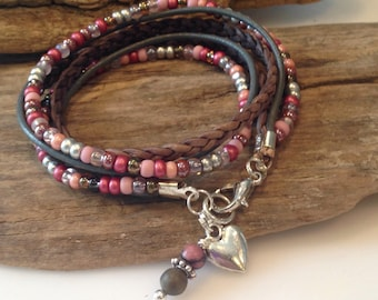 Spring Bracelet, Wrap Bracelet, Boho Wrap, Beaded Leather Wrap Bracelet, natural leather wrap, Pink and silver, Charm Bracelet, Gift for Her