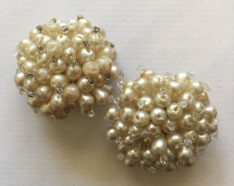 50's style pearl cluster clip on earrings