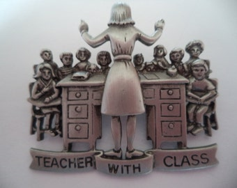 Vintage Signed JJ  Silver pewter Teacher and Class Brooch/Pin