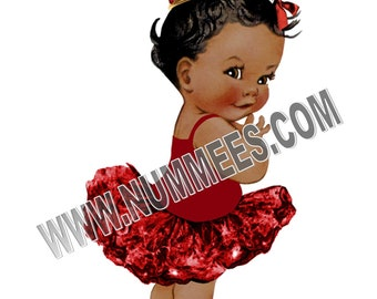 African American Princess Red Edible Image