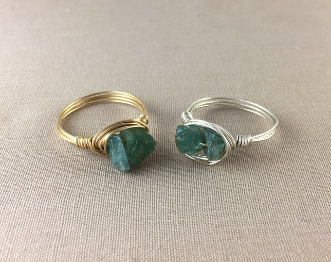 Raw Apatite Ring // wire wrapped apatite ring, raw crystal ring, raw gemstone ring, jewelry under 25, sterling silver ring, green ring