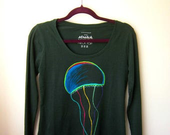 Jellyfish hand painted blouse. Long sleeve top. Electric colorful design. Personalized clothing for women.