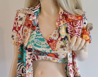 Vintage 1960's 70's The Red Eye PaTcHwOrK HiPPiE Boho Sexy Halter Top & Shirt S M Iconic CaLiFornia Surfer Girl
