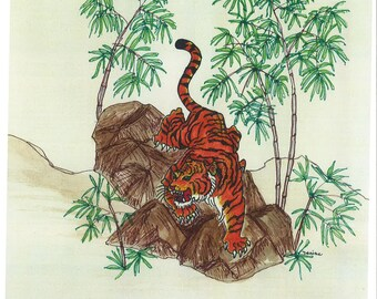 Asian Tiger Painting Print