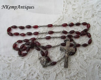 Garnet glass rosary 1920's