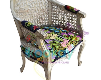 Chair with handmade embroidered armrest