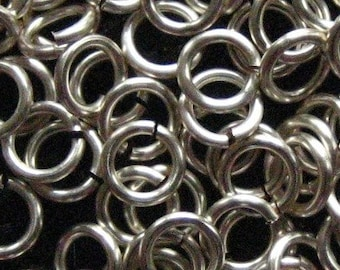 Jump Rings 400 -- 18 ga 3.5mm ID Non Tarnish Silver Enameled Copper Chainmaille