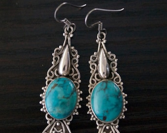 Compelling TURQUOISE SILVER EARRINGS