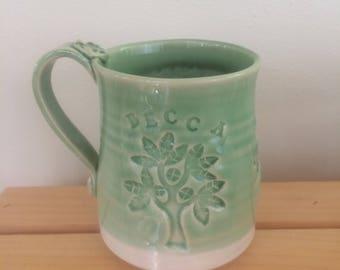 Personalized Hand Thrown Clay Mug, Your Name On It, Handmade Coffee Mug, Pottery Mug, Tea Mug, Green Glaze