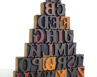 A to Z - Vintage Letterpress Wood Type Collection - VG01