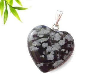Silver plated - speckled Obsidian heart pendant