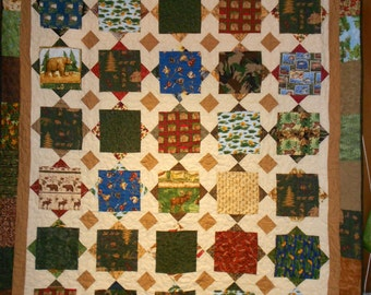 Queen size Bed Quilt Up North Hunting wild life 94