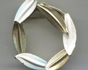 White Enamel & Gold Tone Leaves Circle Pin