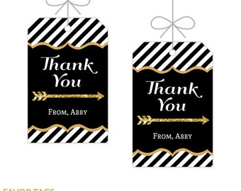 Black and Gold Favor Tags, Printable Birthday Decorations, Instant Download, Editable Text, Personalize with Adobe Reader