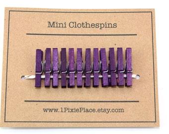 Mini Clothespins - Set of 12 - Plum