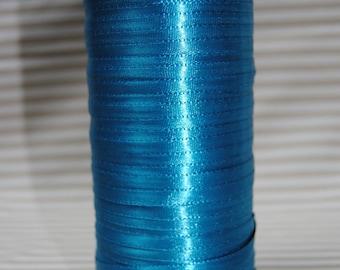 6 mm, peacock blue satin ribbon