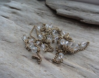 Vintage Long Gold Curb Chain Clear Crystals Spaced Supply