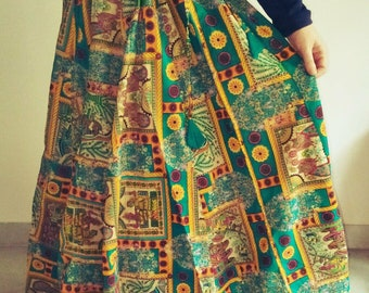 Cotton Maxi Skirt~Boho Skirt~Hippie Skirt~Gypsy Skirt~Circle Skirt~Summer Skirts~Blue Maxi Skirt~Floor Length Skirt~High Waisted Maxi Skirt