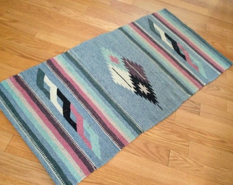 Vintage Arizona Navajo Banded Diamond Native American Indian Rug Carpet Sky Blue