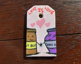 Tiny Wood Painting- Peanut Butter & Jelly- LOVE IS LOVE Collection
