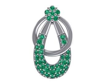 Double Hoop Emerald Pendant, Hoop Emerald Pendant, Circle Pendant, Emerald Pendant, Hoop Pendant, Women's Jewelry