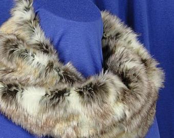 Faux Fur Cowl - Faux Fur Infinity Scarf - Textured Wild Rabbit Faux Fur Scarf - Faux Rabbit Cowl - Short Faux Fur Scarf