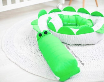 Baby crib bumper CROCODILE Pillow Handmade, Baby Bed Bumper, Baby Shower Present